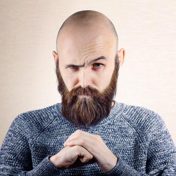 glatze und bart